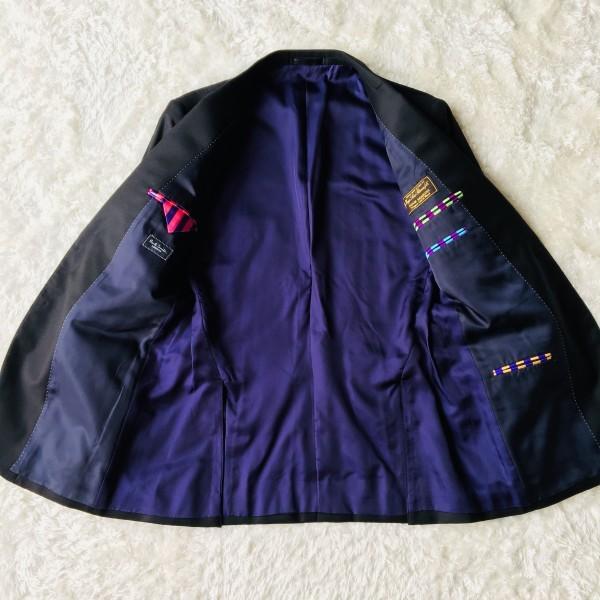 1474 美品 ポールスミスxロロピアーナ super130s FOUR SEASONS PAUL SMITH スーツ L 黒 ブラック メンズ 裏地カラフルxパープル_画像6