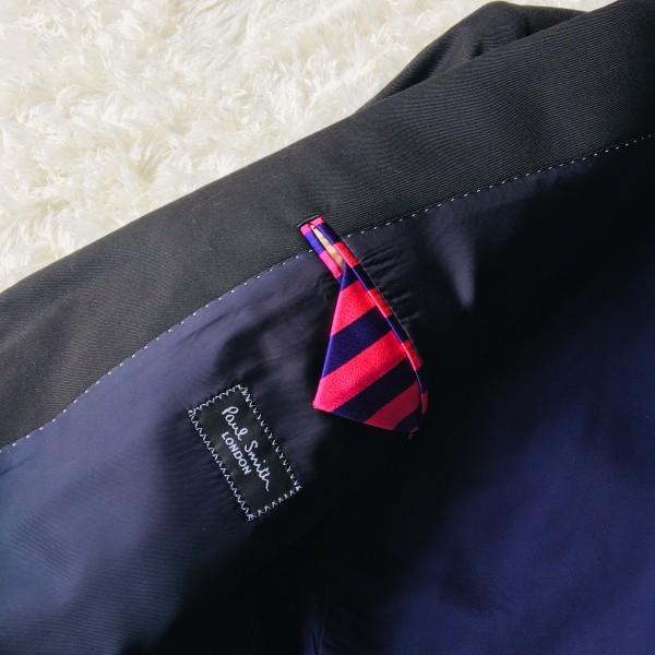 1474 美品 ポールスミスxロロピアーナ super130s FOUR SEASONS PAUL SMITH スーツ L 黒 ブラック メンズ 裏地カラフルxパープル_画像7