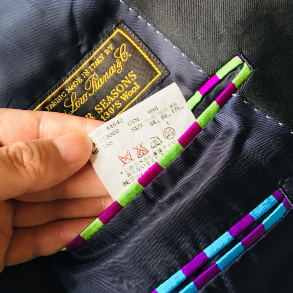 1474 美品 ポールスミスxロロピアーナ super130s FOUR SEASONS PAUL SMITH スーツ L 黒 ブラック メンズ 裏地カラフルxパープル_画像9