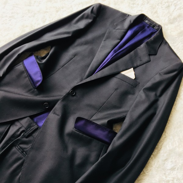 1474 美品 ポールスミスxロロピアーナ super130s FOUR SEASONS PAUL SMITH スーツ L 黒 ブラック メンズ 裏地カラフルxパープル_画像4