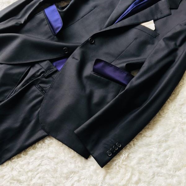 1474 美品 ポールスミスxロロピアーナ super130s FOUR SEASONS PAUL SMITH スーツ L 黒 ブラック メンズ 裏地カラフルxパープル_画像5