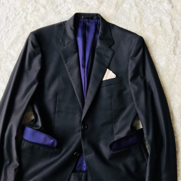 1474 美品 ポールスミスxロロピアーナ super130s FOUR SEASONS PAUL SMITH スーツ L 黒 ブラック メンズ 裏地カラフルxパープル_画像3