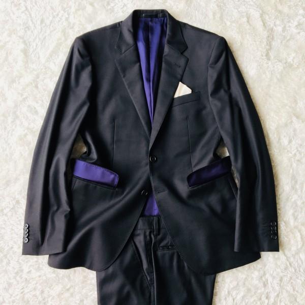 1474 美品 ポールスミスxロロピアーナ super130s FOUR SEASONS PAUL SMITH スーツ L 黒 ブラック メンズ 裏地カラフルxパープル_画像2