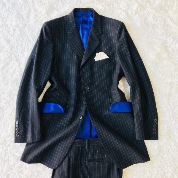 637 美品 Paul Smith ポールスミス スーツ メンズ サイズL ラムウール100% ネイビーxブルー 紺 青