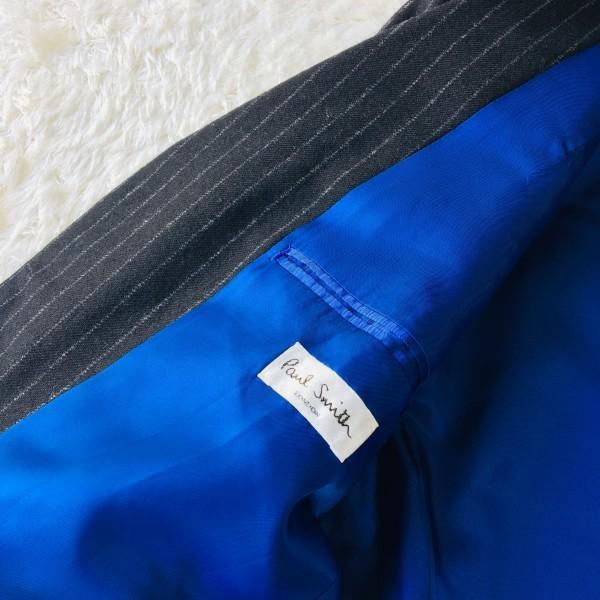 637 美品 Paul Smith ポールスミス スーツ メンズ サイズL ラムウール100% ネイビーxブルー 紺 青_画像8