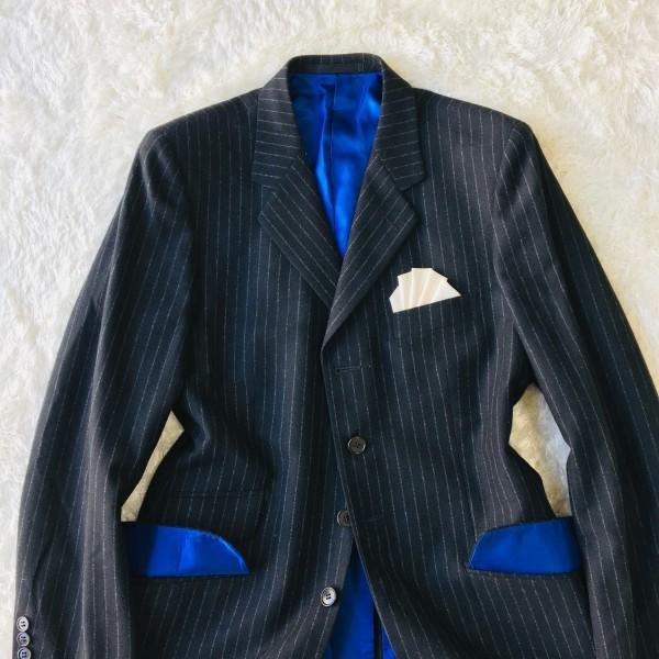 637 美品 Paul Smith ポールスミス スーツ メンズ サイズL ラムウール100% ネイビーxブルー 紺 青_画像2
