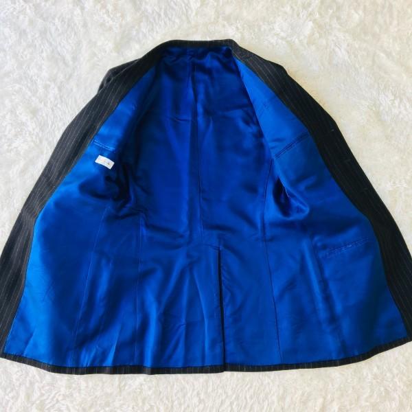 637 美品 Paul Smith ポールスミス スーツ メンズ サイズL ラムウール100% ネイビーxブルー 紺 青_画像6