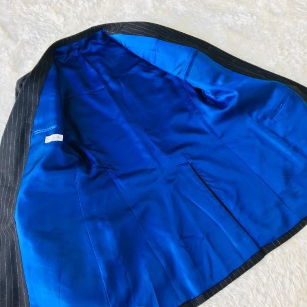 637 美品 Paul Smith ポールスミス スーツ メンズ サイズL ラムウール100% ネイビーxブルー 紺 青_画像7