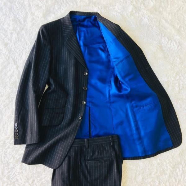637 美品 Paul Smith ポールスミス スーツ メンズ サイズL ラムウール100% ネイビーxブルー 紺 青_画像3