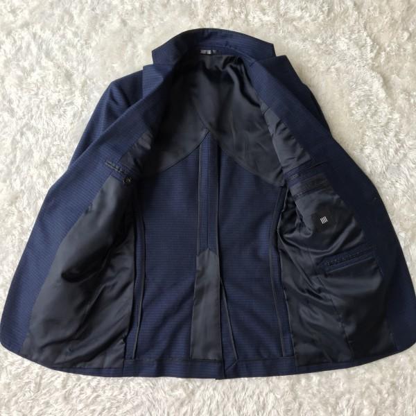 6666 美品 スリーピース SUIT SELECT スーツセレクト ブルー ブロックチェック スーツ 3P メンズ S~M 青 ネイビー_画像7