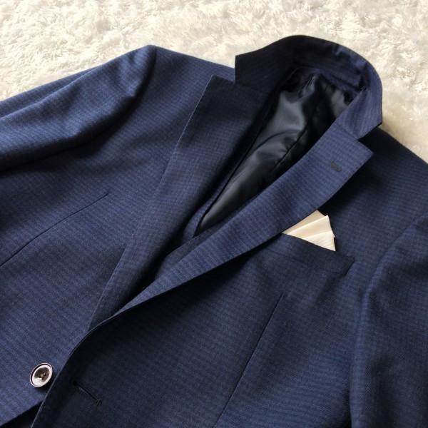 6666 美品 スリーピース SUIT SELECT スーツセレクト ブルー ブロックチェック スーツ 3P メンズ S~M 青 ネイビー_画像5