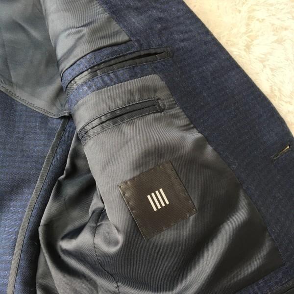6666 美品 スリーピース SUIT SELECT スーツセレクト ブルー ブロックチェック スーツ 3P メンズ S~M 青 ネイビー_画像8