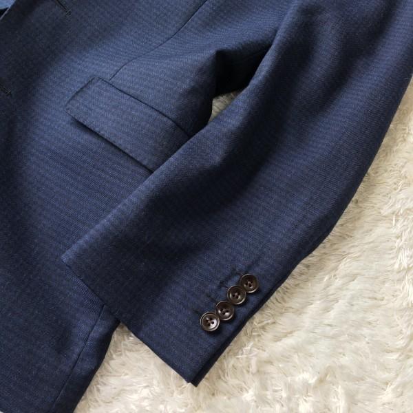 6666 美品 スリーピース SUIT SELECT スーツセレクト ブルー ブロックチェック スーツ 3P メンズ S~M 青 ネイビー_画像6