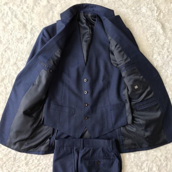 6666 美品 スリーピース SUIT SELECT スーツセレクト ブルー ブロックチェック スーツ 3P メンズ S~M 青 ネイビー