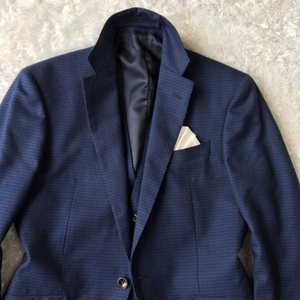 6666 美品 スリーピース SUIT SELECT スーツセレクト ブルー ブロックチェック スーツ 3P メンズ S~M 青 ネイビー_画像4