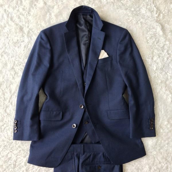 6666 美品 スリーピース SUIT SELECT スーツセレクト ブルー ブロックチェック スーツ 3P メンズ S~M 青 ネイビー_画像3