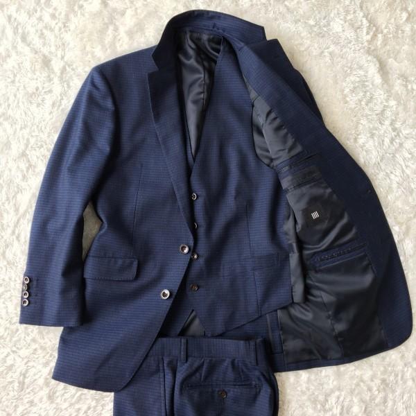 6666 美品 スリーピース SUIT SELECT スーツセレクト ブルー ブロックチェック スーツ 3P メンズ S~M 青 ネイビー_画像2