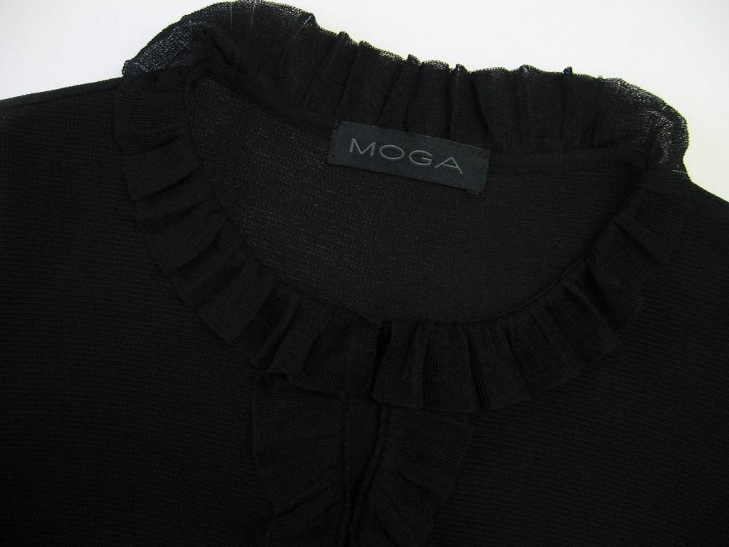 美品 MOGA モガ 大きいサイズ15号 ★上品フリル♪ ブラックニットカーディガン 黒_画像4