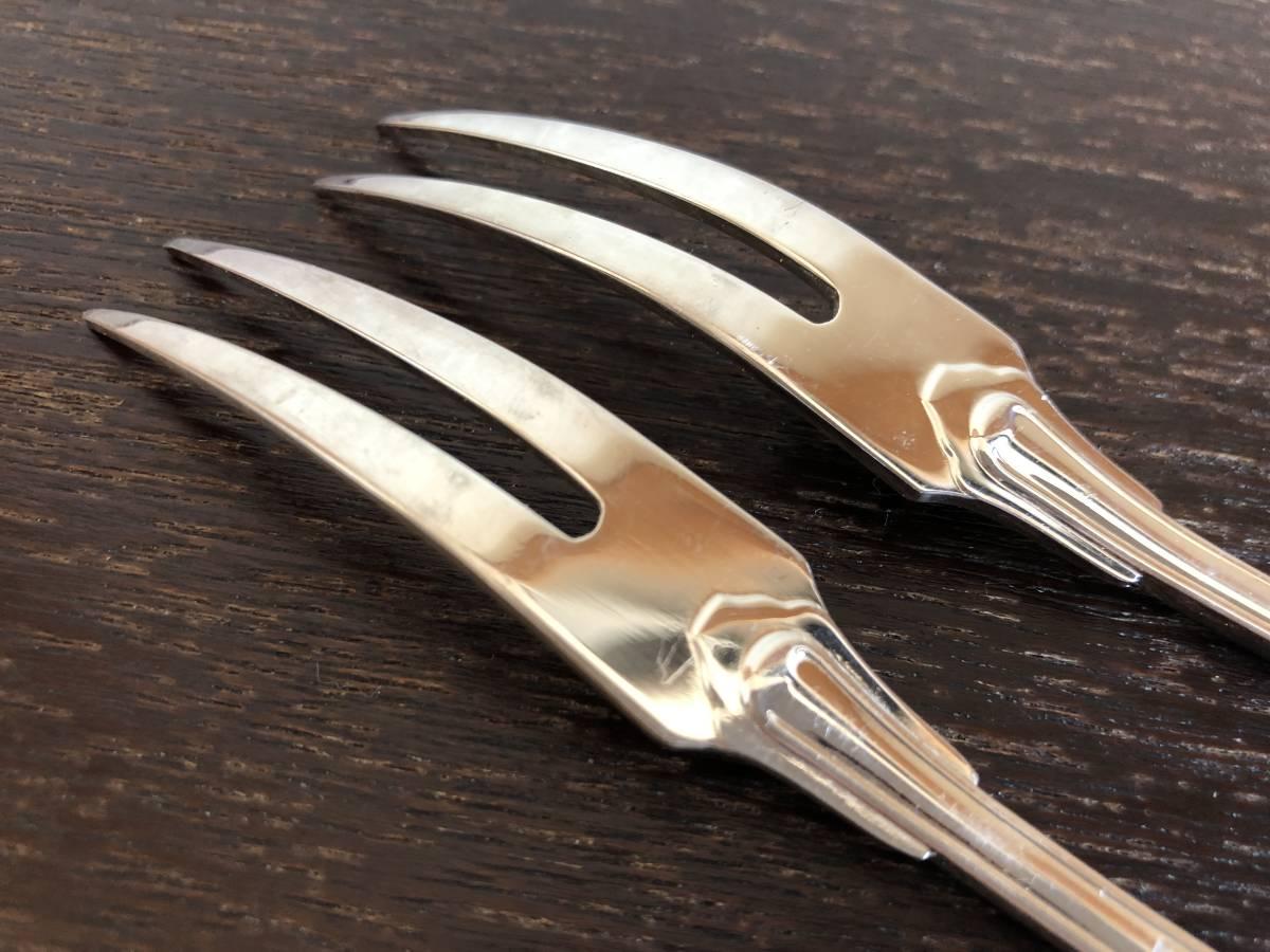 クリストフル 純銀メッキ製フォーク 2本 15.8cm/ヴェルサイユ/デザートフォーク/368_画像7