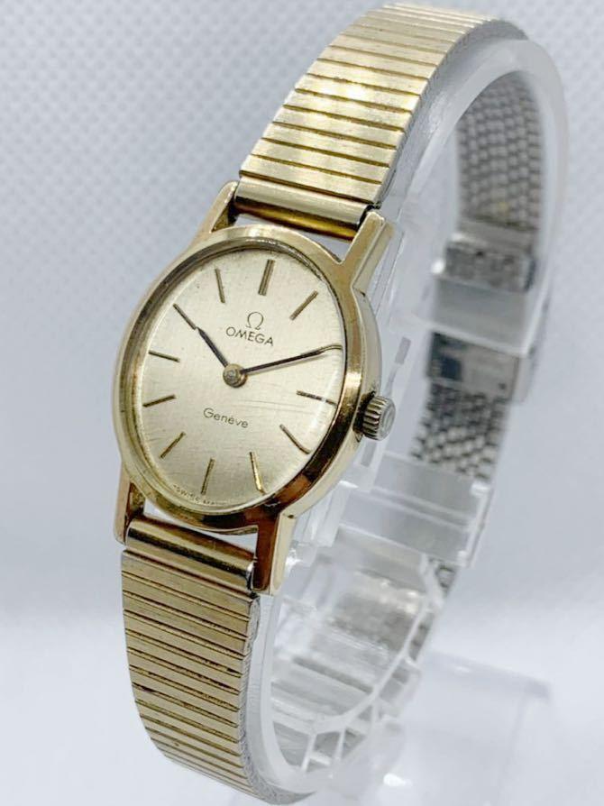 1円~ 最落なし OMEGA オメガ Genve ジュネーブ アンティーク 手巻き ゴールドダイヤル オーバル型 レディース 腕時計 ジャンク品