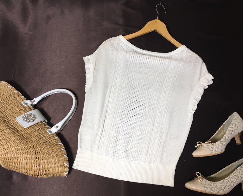 ブルーレーベルクレストブリッジ 編み柄の切り替えが可愛いサマーニット 38 送料185円♪_画像2