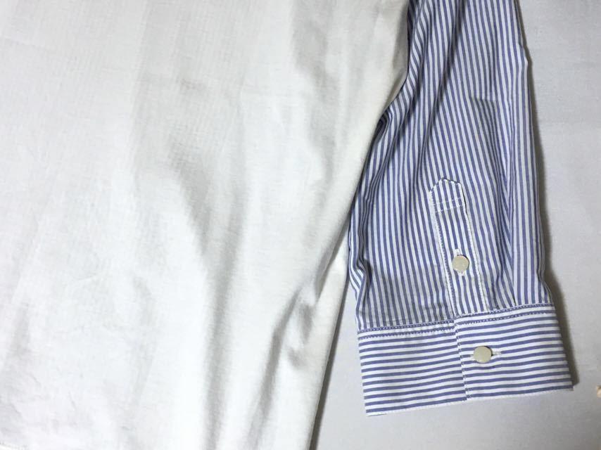 美品 バーバリーブルーレーベル 肩のおリボンが可愛いストライプ柄トップス 38 送料185円♪_画像6