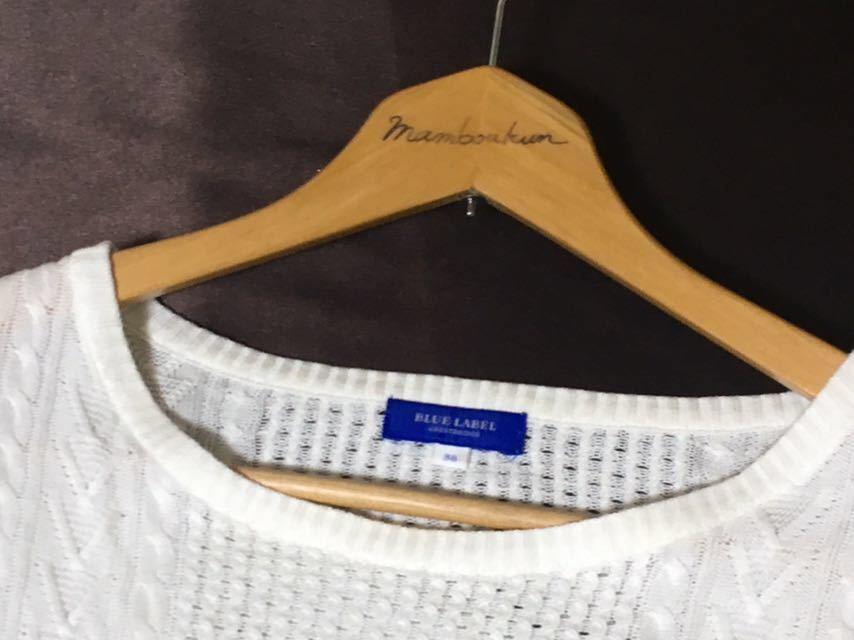 ブルーレーベルクレストブリッジ 編み柄の切り替えが可愛いサマーニット 38 送料185円♪_画像3
