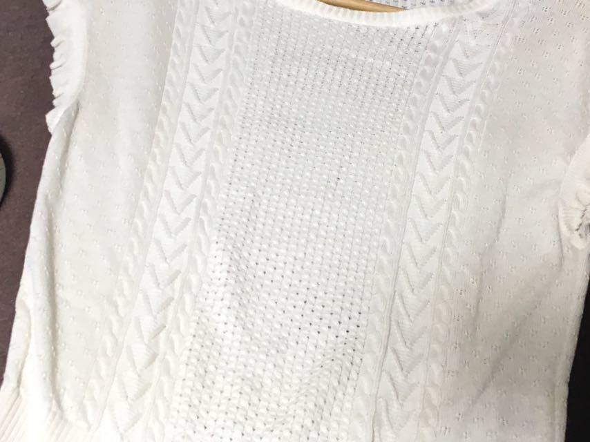 ブルーレーベルクレストブリッジ 編み柄の切り替えが可愛いサマーニット 38 送料185円♪_画像6