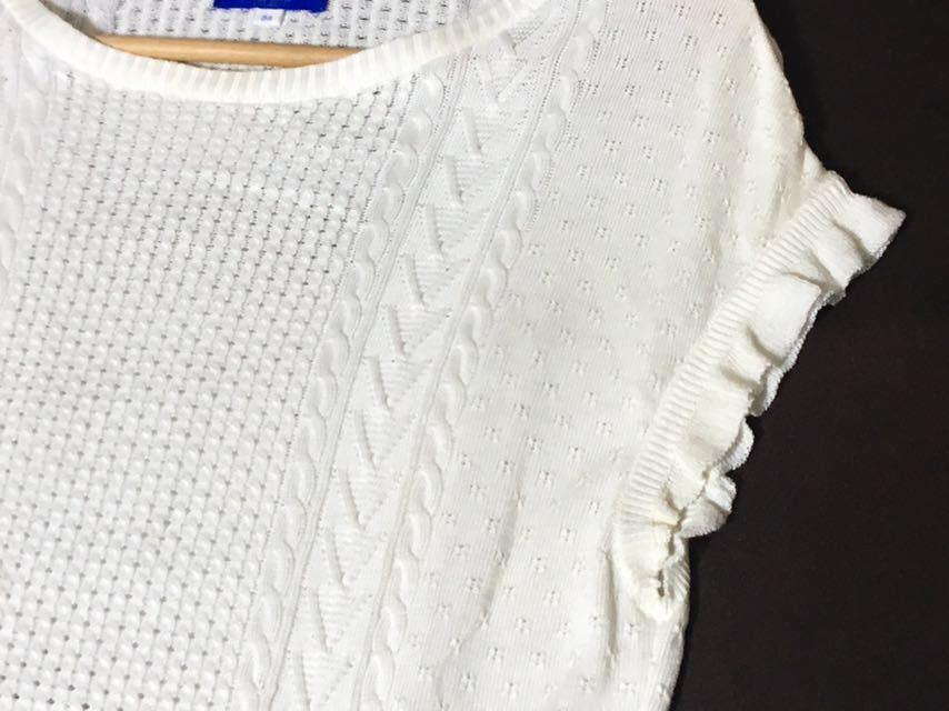 ブルーレーベルクレストブリッジ 編み柄の切り替えが可愛いサマーニット 38 送料185円♪_画像5