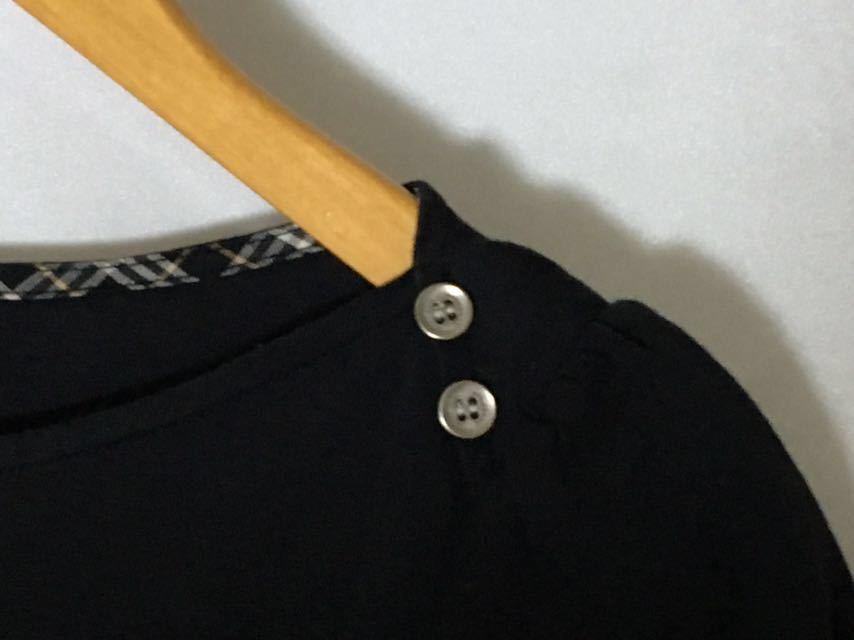 バーバリーブルーレーベル お袖のチェックの結び目が可愛いプルオーバー 38 送料185円♪_画像5
