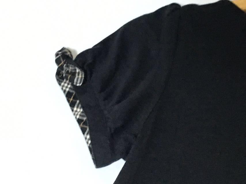 バーバリーブルーレーベル お袖のチェックの結び目が可愛いプルオーバー 38 送料185円♪_画像6