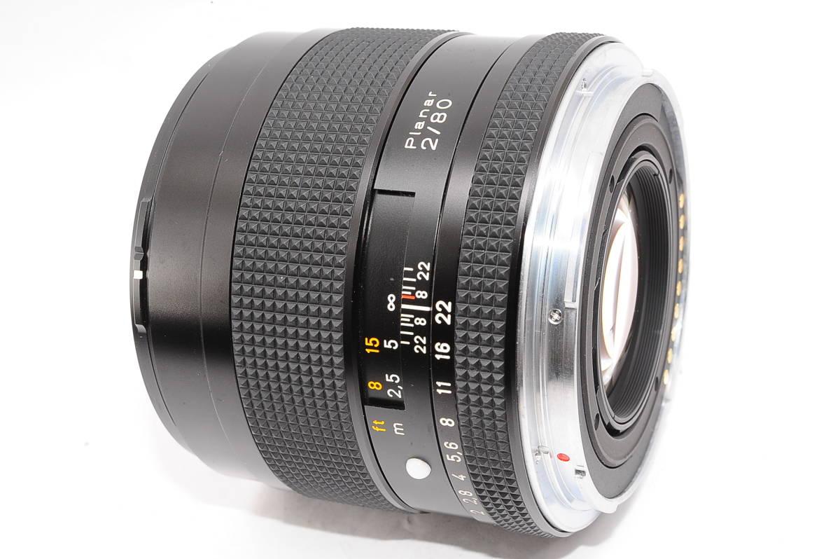 【極上品】 コンタックス カールツァイス プラナー 80mm F2 T* CONTAX Carl Zeiss Planar 645用 レンズ+メタルフード(GB-72)付 [8767814]_画像2