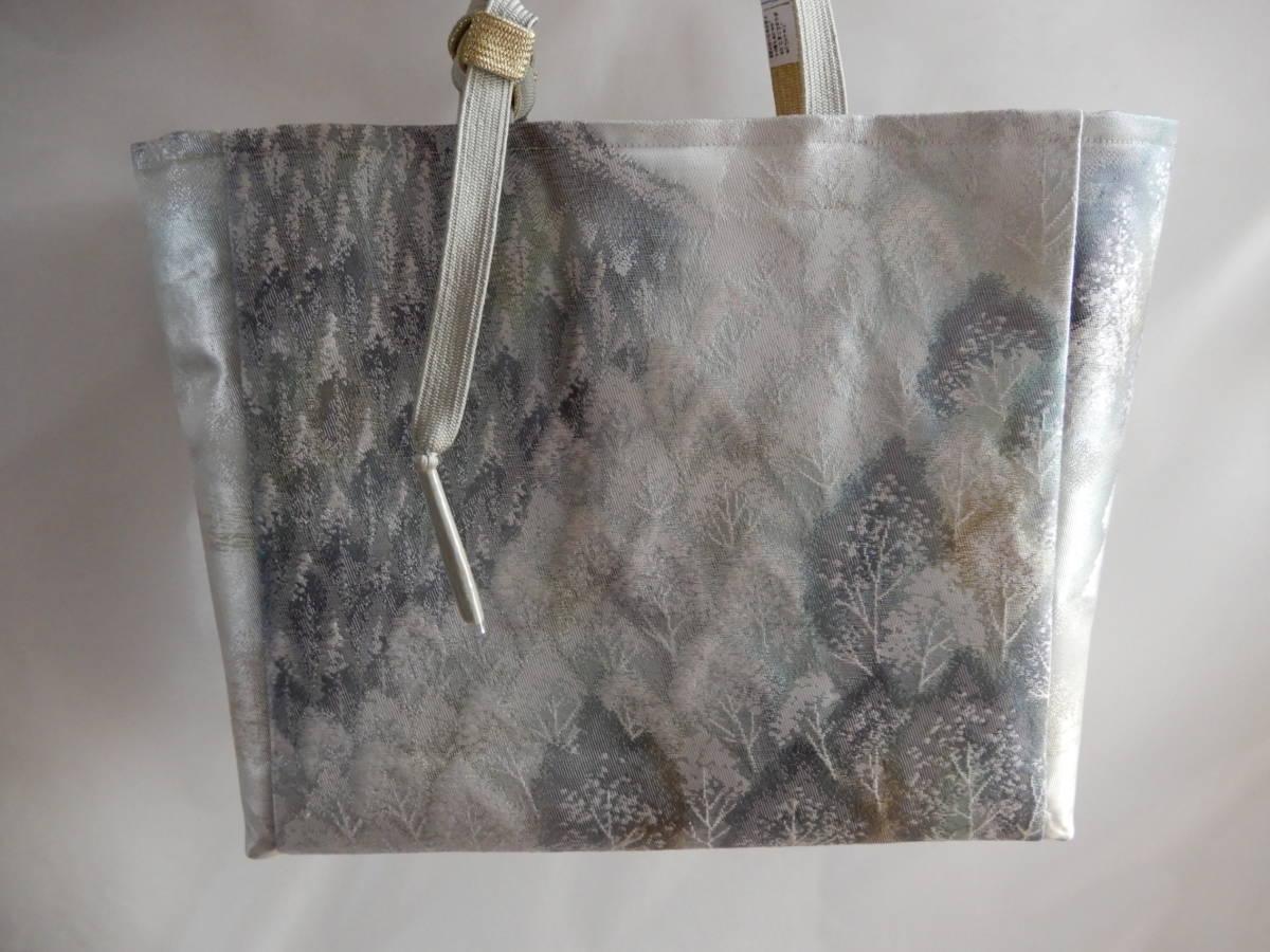 袋帯(奥嵯峨 銀糸 )リメイク・ハンドメイドトートバッグ・お出かけに如何でしょうか☆_画像2