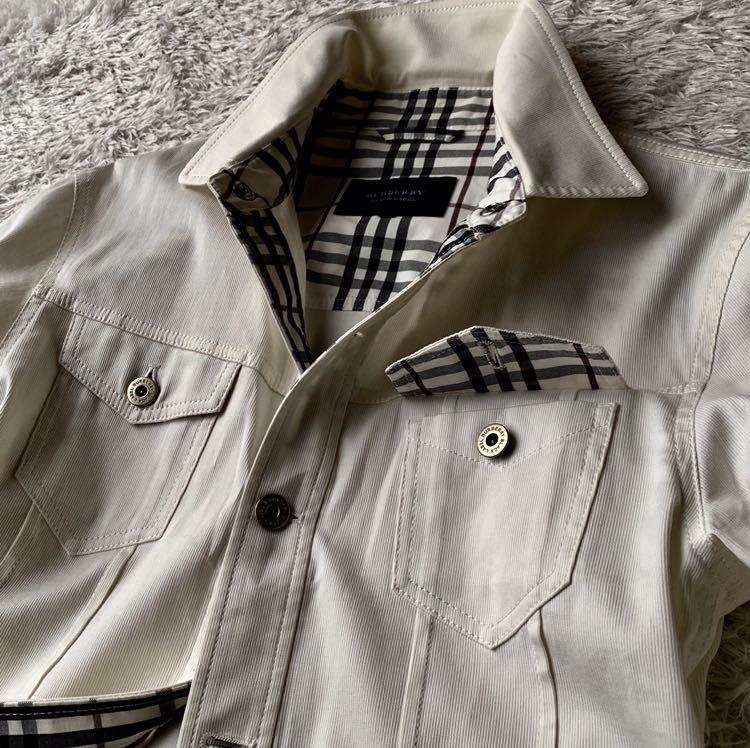 292【裾にホースマーク×ホワイトノバチェック バーバリーブラックレーベル】ホワイトジャケット 薄手 ボタンホール 紫 メンズ M _画像3