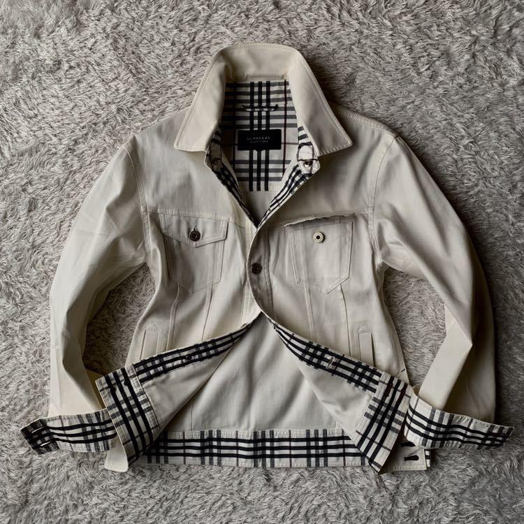 292【裾にホースマーク×ホワイトノバチェック バーバリーブラックレーベル】ホワイトジャケット 薄手 ボタンホール 紫 メンズ M