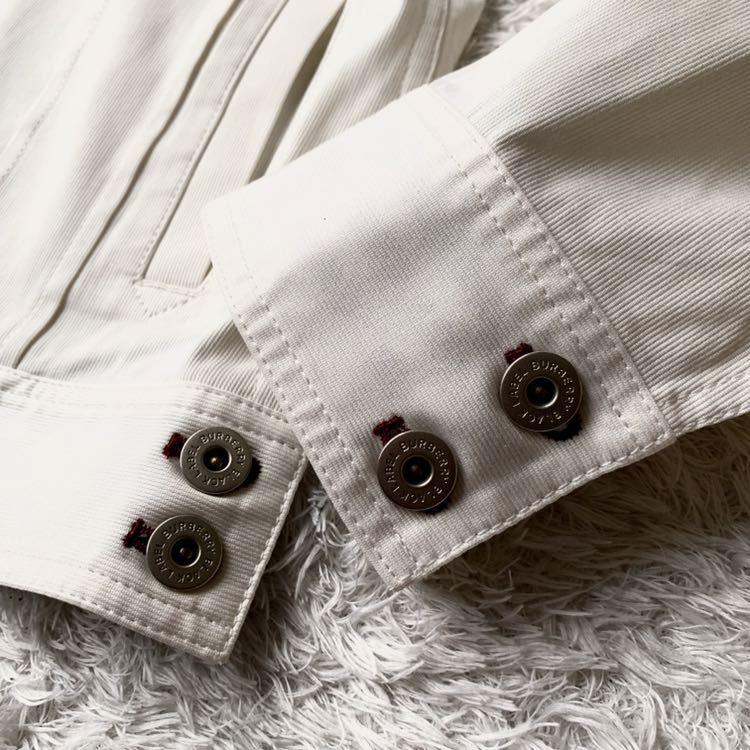 292【裾にホースマーク×ホワイトノバチェック バーバリーブラックレーベル】ホワイトジャケット 薄手 ボタンホール 紫 メンズ M _画像6