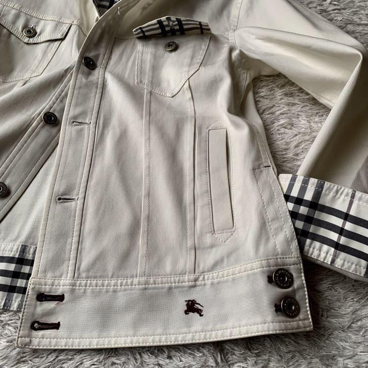 292【裾にホースマーク×ホワイトノバチェック バーバリーブラックレーベル】ホワイトジャケット 薄手 ボタンホール 紫 メンズ M _画像2