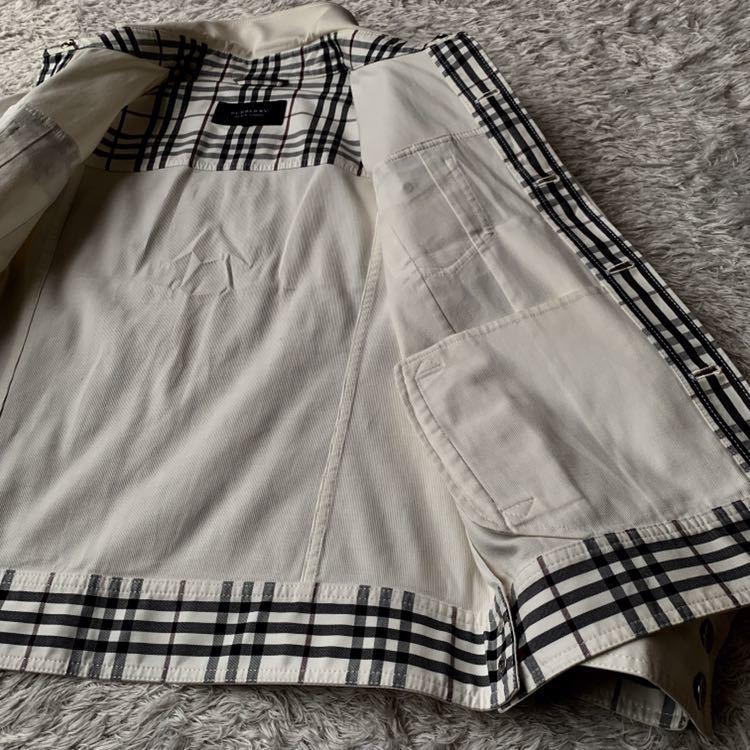 292【裾にホースマーク×ホワイトノバチェック バーバリーブラックレーベル】ホワイトジャケット 薄手 ボタンホール 紫 メンズ M _画像9