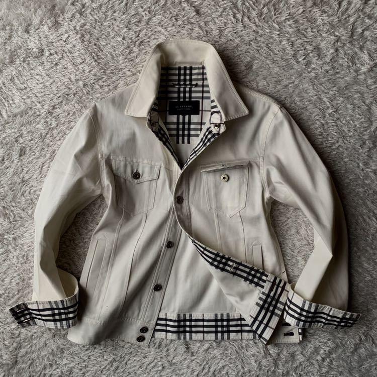 292【裾にホースマーク×ホワイトノバチェック バーバリーブラックレーベル】ホワイトジャケット 薄手 ボタンホール 紫 メンズ M _画像10