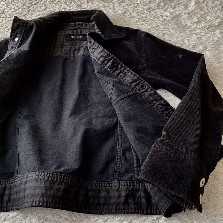 287【腕にホースマーク×袖裏、裾裏チェック BURBERRY BLACK LABEL コーデュロイジャケット】メンズ M 黒_画像6