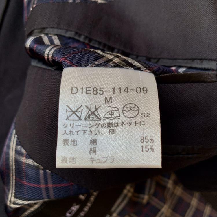240【シルク×ノバチェック バーバリーブラックレーベル シャドーストライプ サマージャケット】本切羽 背抜き ロゴ入り白ボタン M_画像3