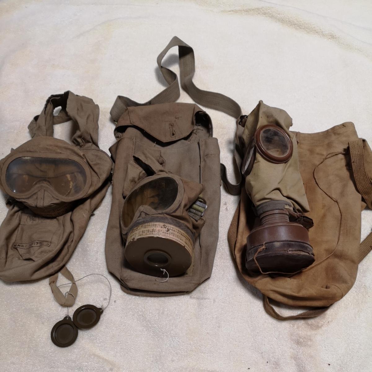 戦前 日本軍 防毒マスク ガスマスク 防毒 ケース 袋 3個 昭和化工