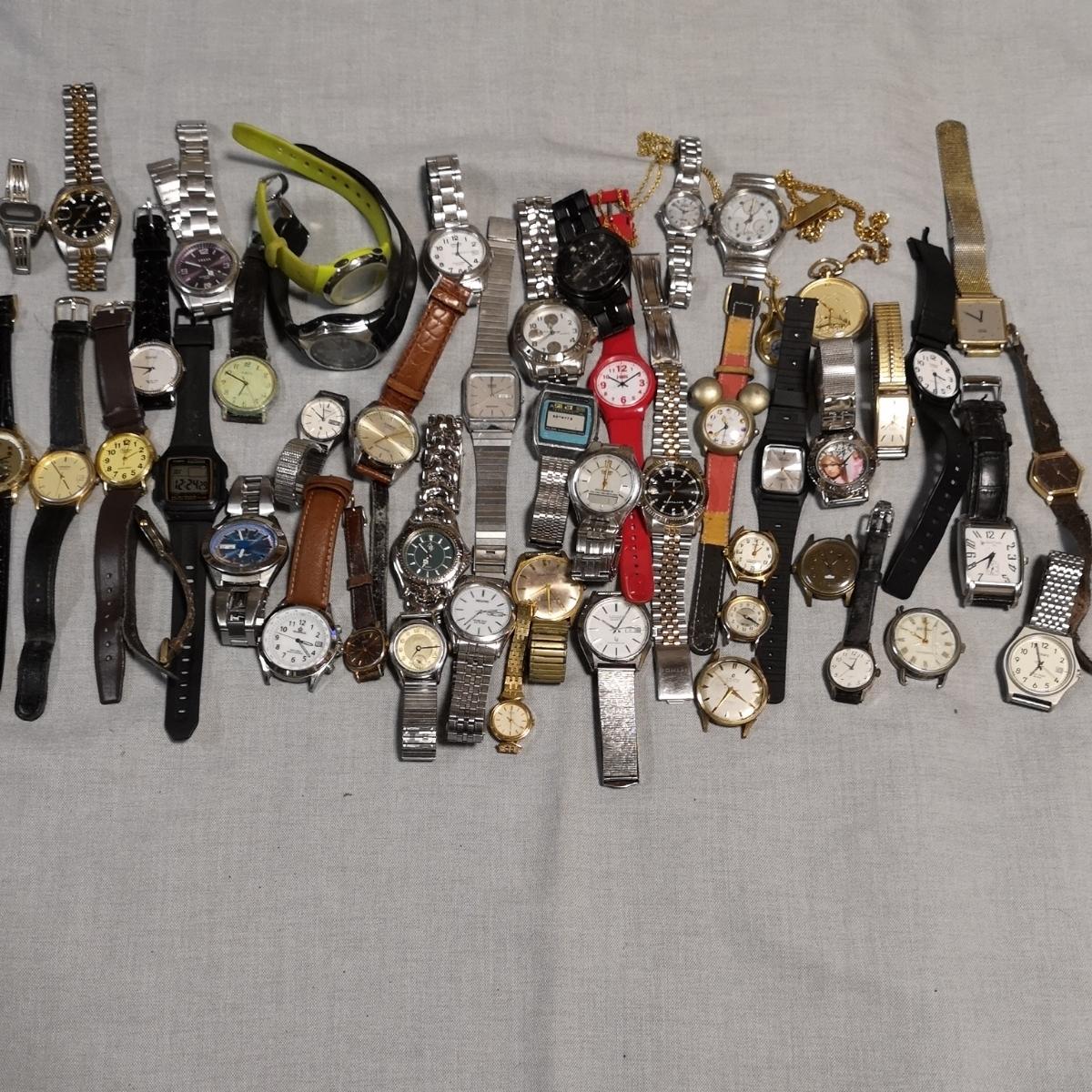 腕時計 大量 50個 SEIKO CITIZEN カシオ クォーツ 手巻 懐中時計 銀時計 ジャンク