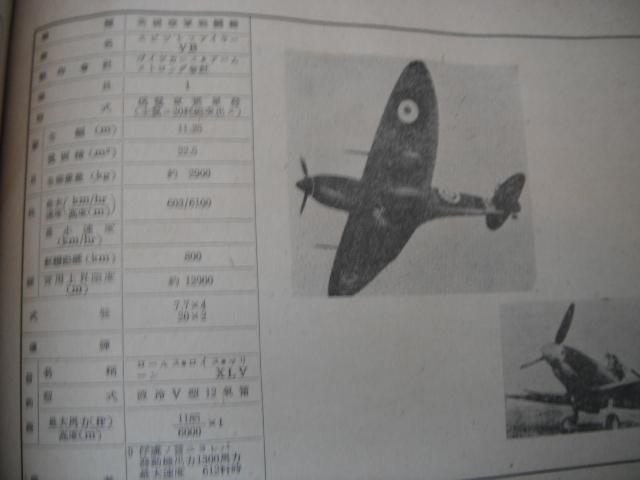 日米英飛行機便覧 参謀本部 極秘 印 性能概要 写真  海軍 陸軍 P40カーチス スピットファイア B19 ホーカーハリケーン_画像8