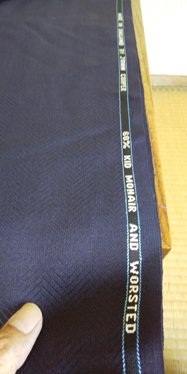 JOHN COOPER ジョン・クーパー ネイビー イギリス製 服地 布地 生地 60% KID MOHAIR 透け感 約150×290cm ハンドメイド・洋裁_画像2