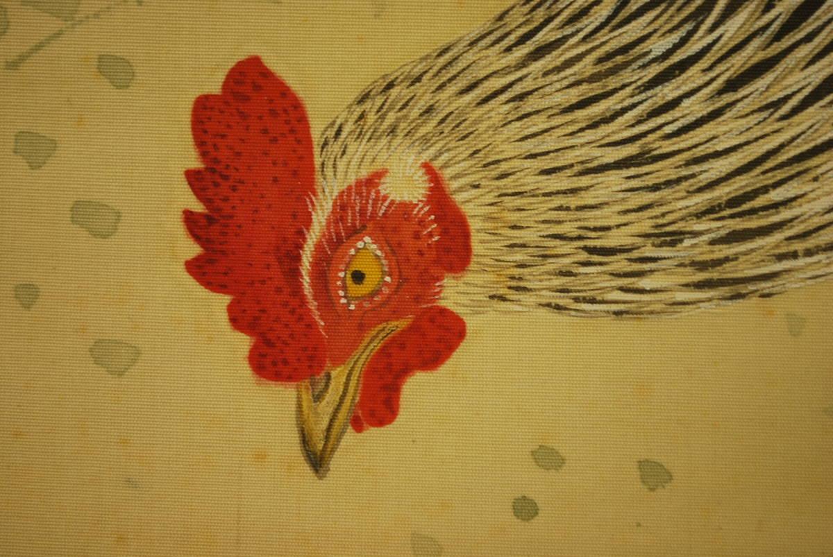 【真作】春陽/双鶏図/掛軸☆宝船☆T-262 J_画像5