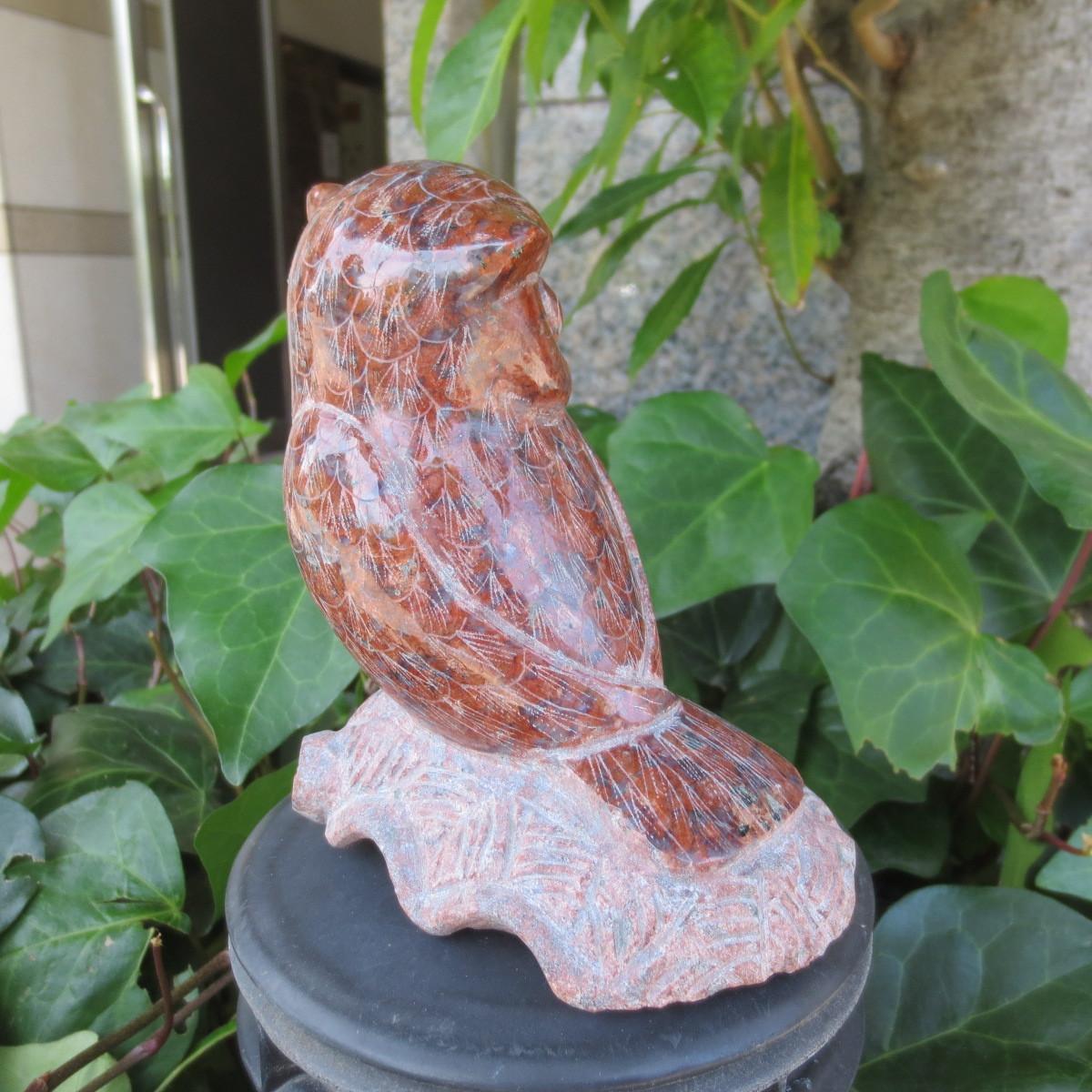 フクロウ ふくろう 置物 梟 オブジェ 福郎 赤御影石 玄関 看板 商売繁盛 縁起物 手作り fks030 ハンドメイド_画像8