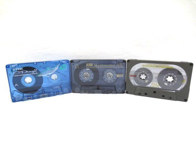 ♪TDK AXIA maxell ハイポジ カセットテープ まとめて3本 中古☆HIGH CrO2 46分 50分 74分_画像1