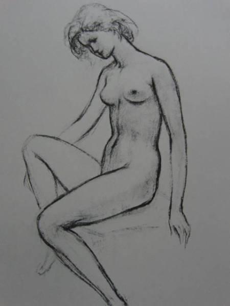 舟越保武、【座像】、希少画集画、新品高級額・額装付、大判、状態良好、送料込み、裸婦