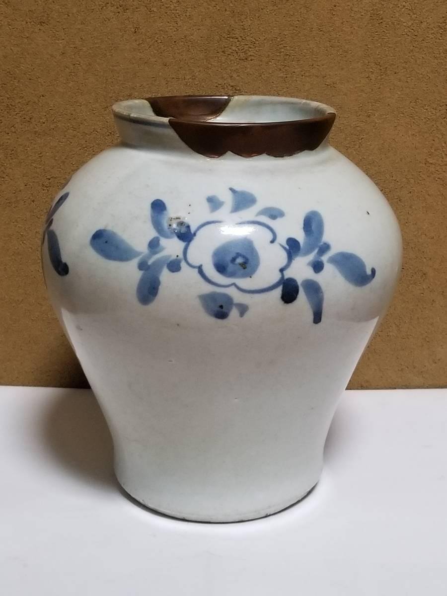 【哲】特別出品:上がりの良い李朝白磁染付花文立壷(18世紀末) _画像3